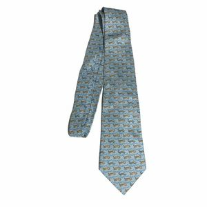 Hermes 100% Silk Blue Money and Tiger Tie